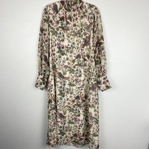 Hope & Ivy Printed Long Sleeve Collared Maxi Dress